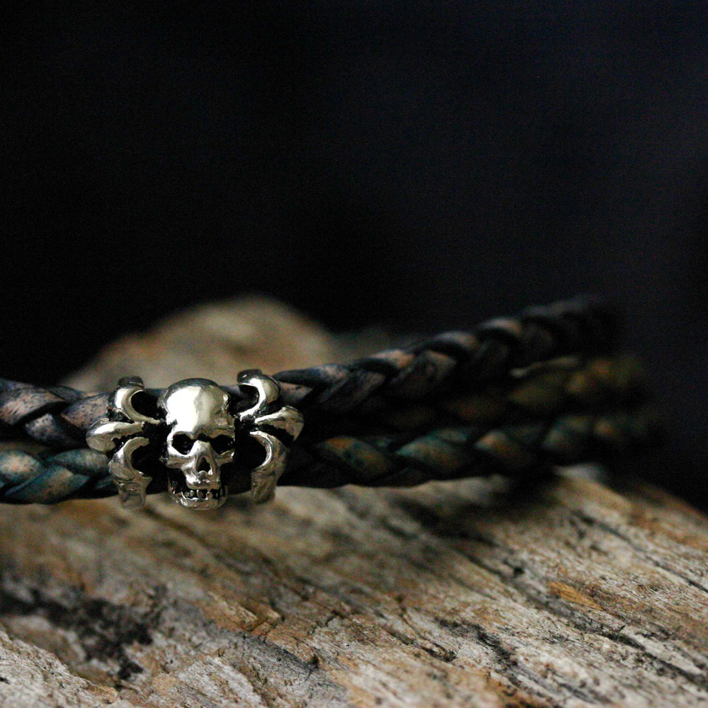 Tri-Color Leather Skull Unisex Bangle Bracelet