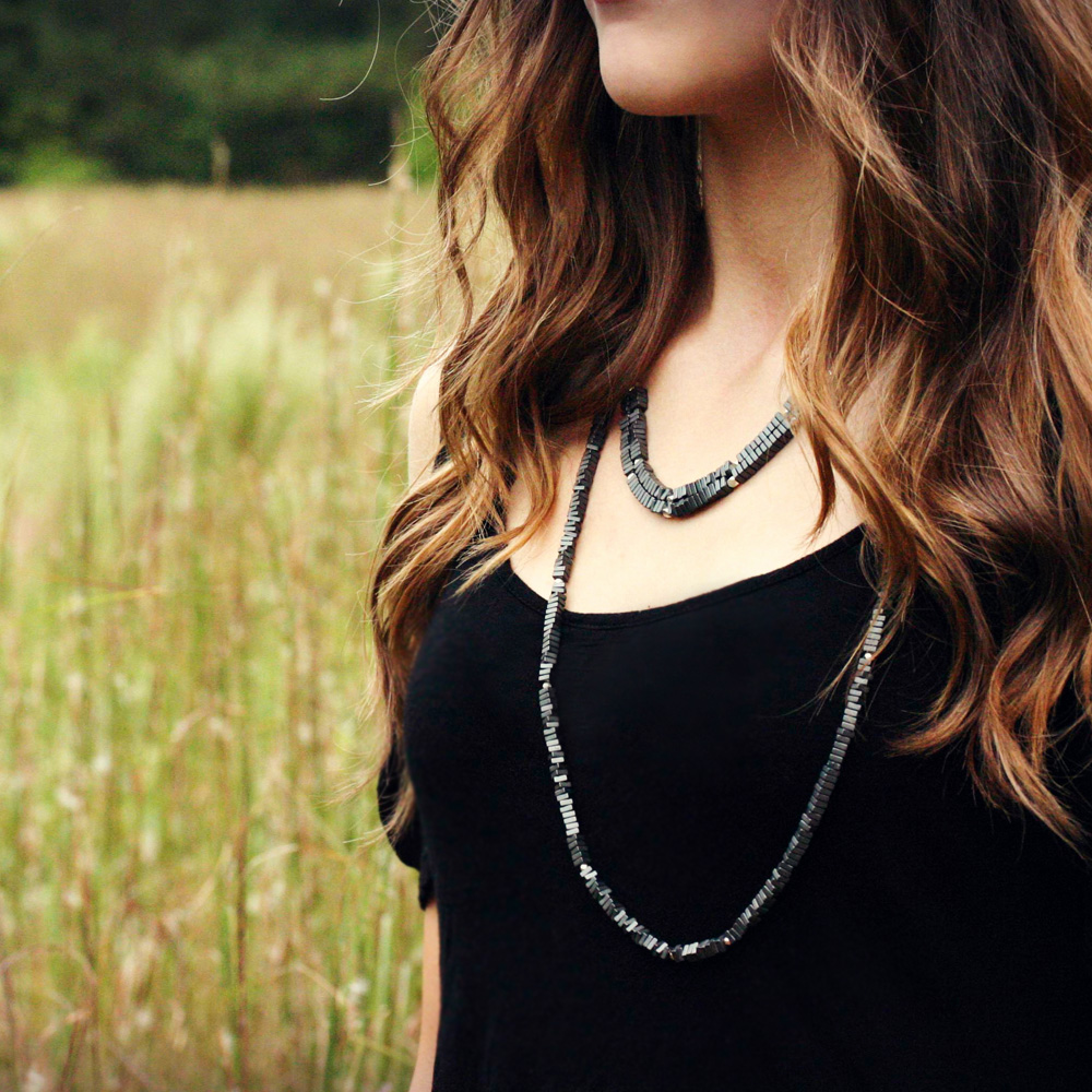 Geometric Long Strand Silver Necklace