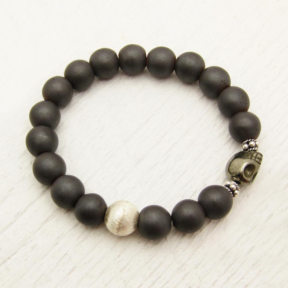 Pyrite Skull & Hematite Unisex Bracelet in Sterling Silver