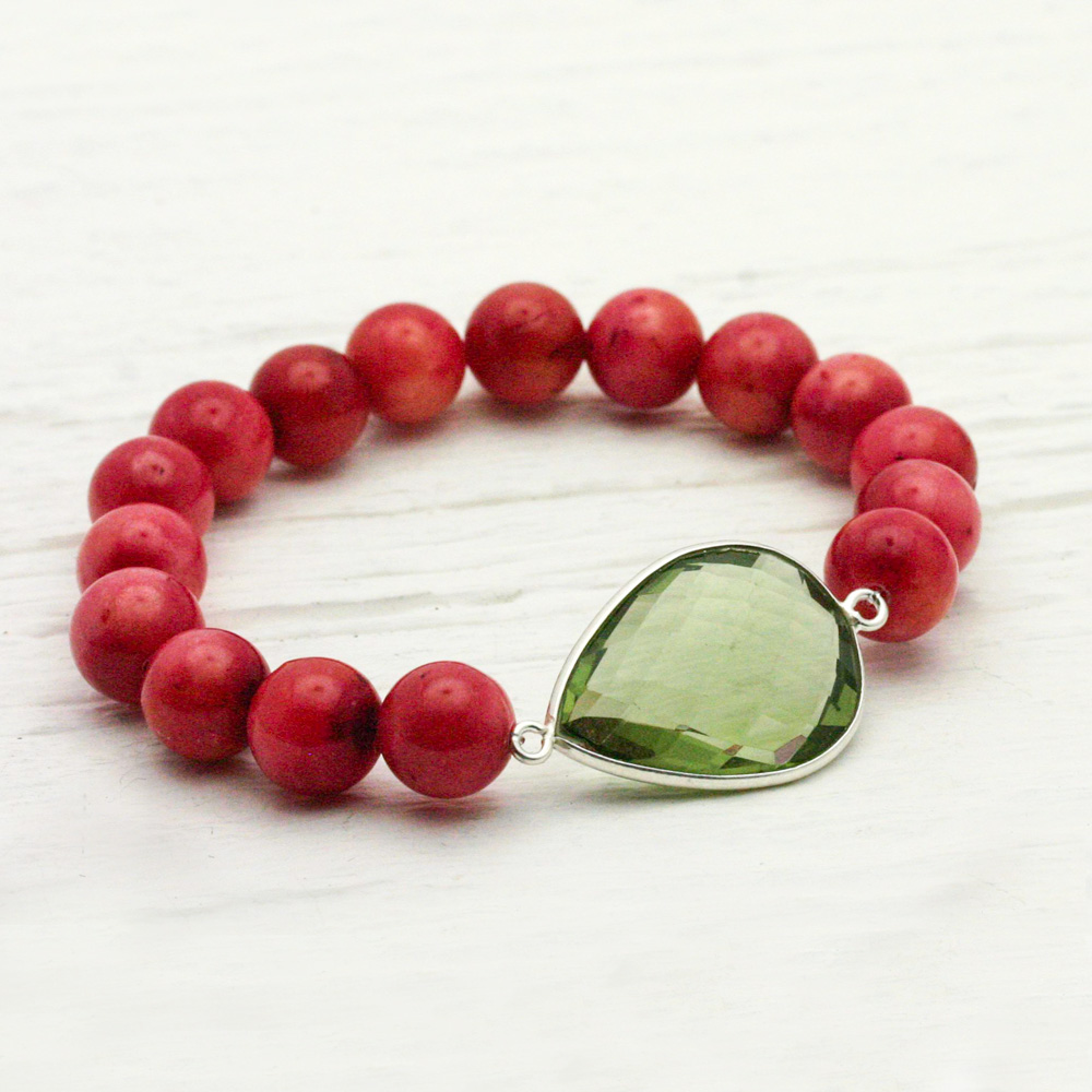 Watermelon Jade & Quartz Teardrop Statement Bracelet