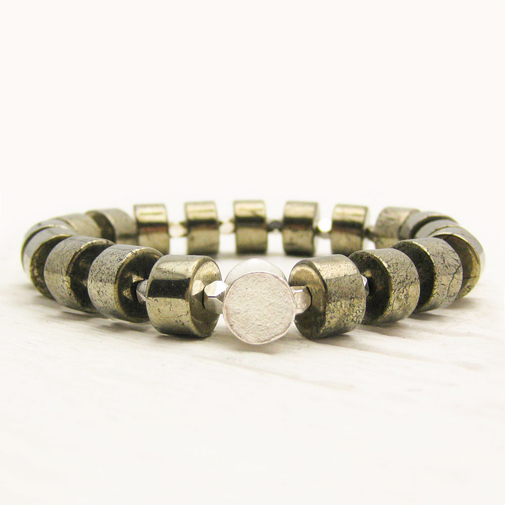 Gold Pyrite Sterling Statement Bracelet
