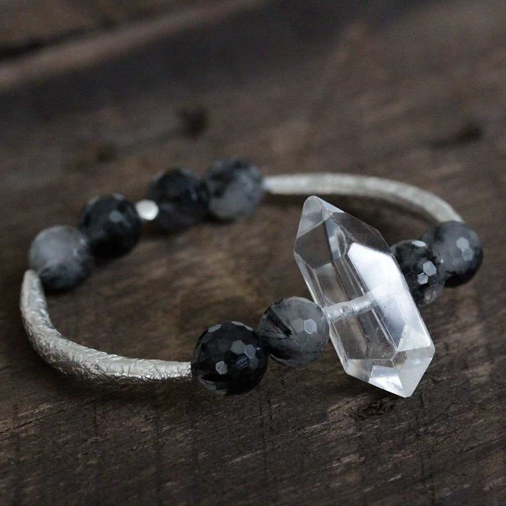 Quartz Crystal Hill Tribe Silver Bangle Bracelet