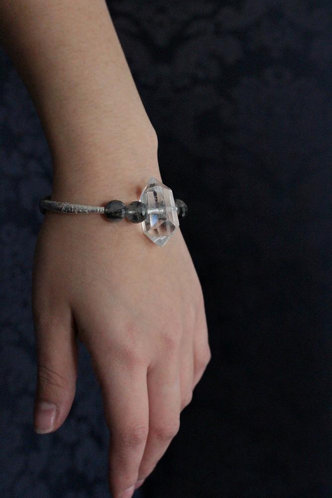 Quartz Crystal Hill Tribe Silver Bangle Bracelet