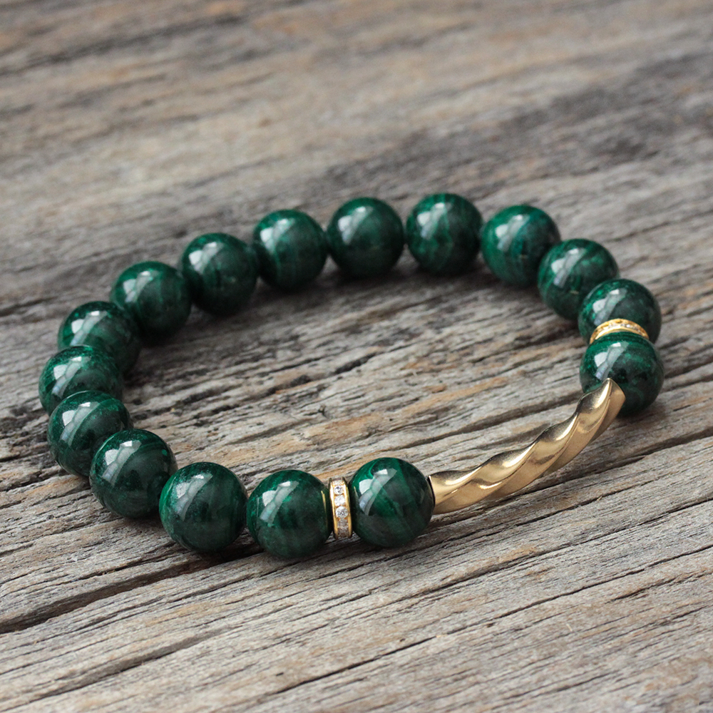 Green Malachite 14K Gold Filled Bracelet