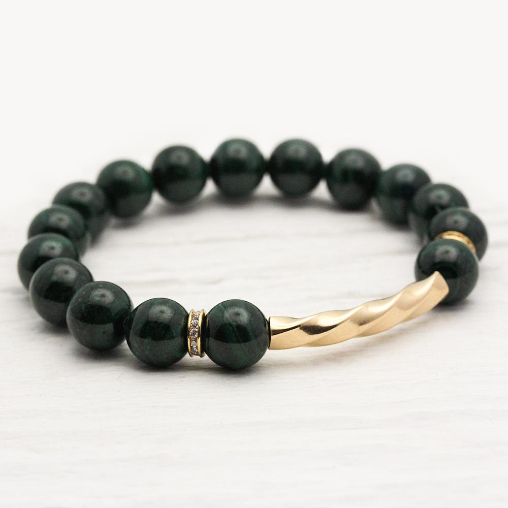 Green Malachite 14K Gold Filled Bracelet