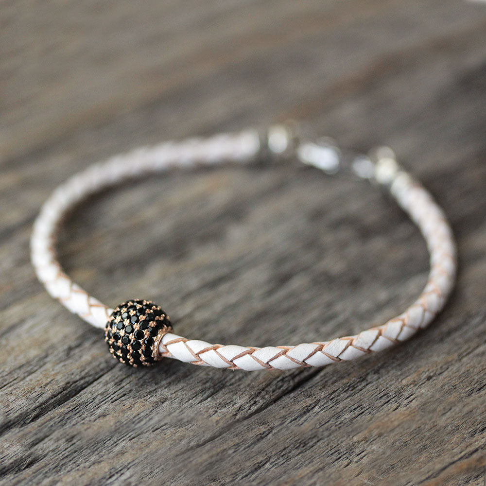 White Leather Bangle Bracelet with Black Pave