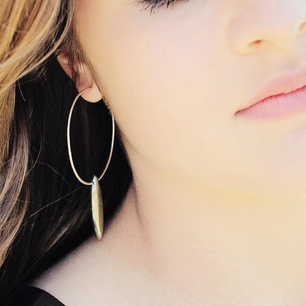 Pyrite Spike Hoop Earrings
