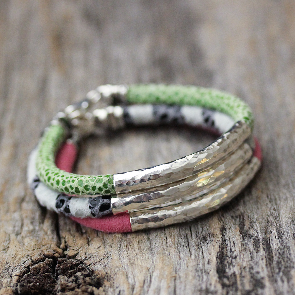 Leather Hill Tribe Bangle Bracelet : Pink
