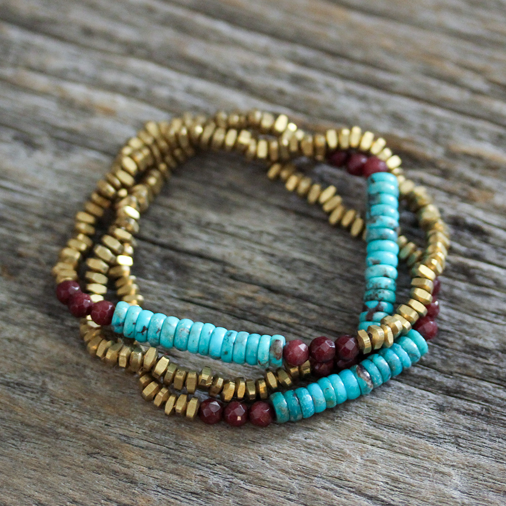 Sleeping Beauty Vintage Turquoise, Jade & Brass Bracelet