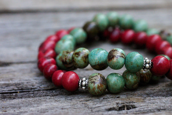 Cranberry and Aqua Acai Bead Bracelets