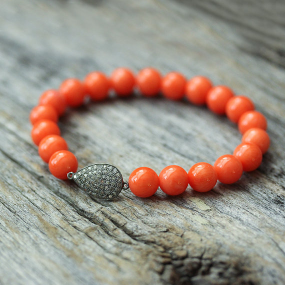 Orange Coral Diamond Pave Teardrop Bracelet