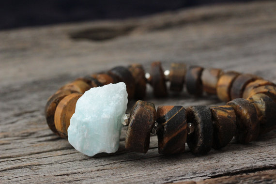 Tiger Eye and Blue Quartz Bead Bracelet