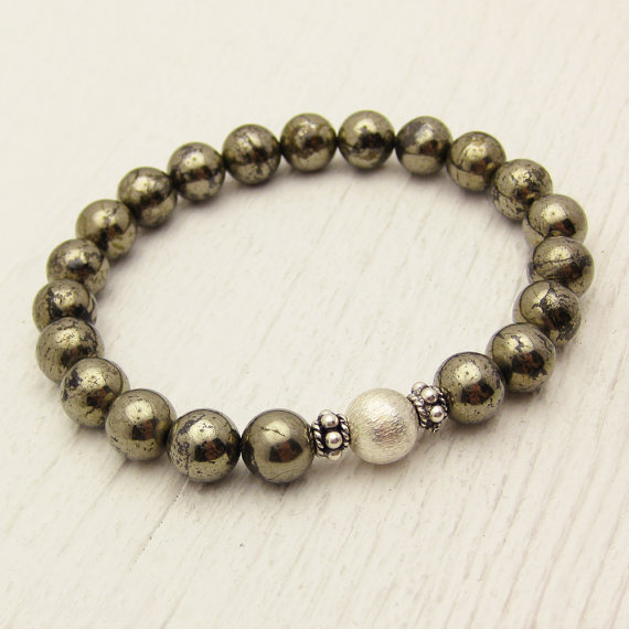 Brazilian Pyrite with Sterling Accents Stacking Bracelet