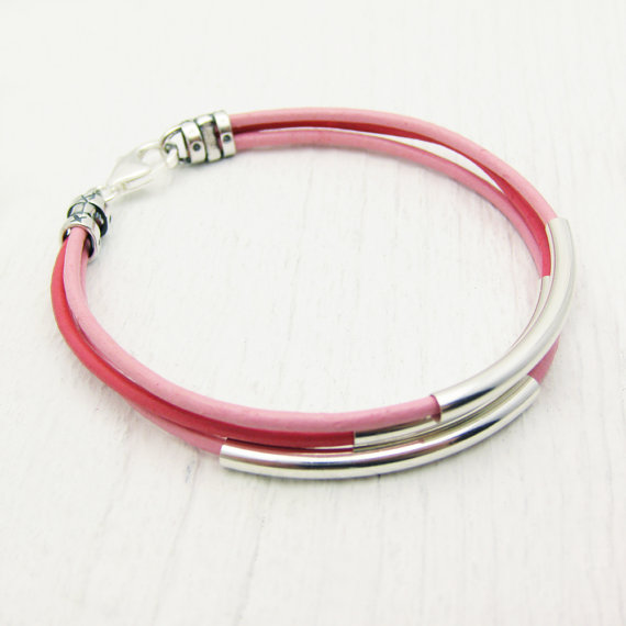 Pink Leather & Sterling Silver Tube Bangle Bracelet