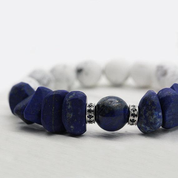 Lapis Lazuli with 14K White Gold Sapphire Bracelet