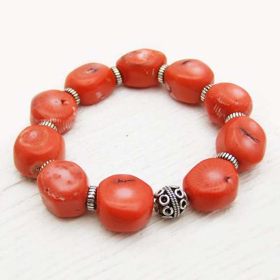 Coral Boho Statement  Bracelet with Bali Sterling Silver Beads