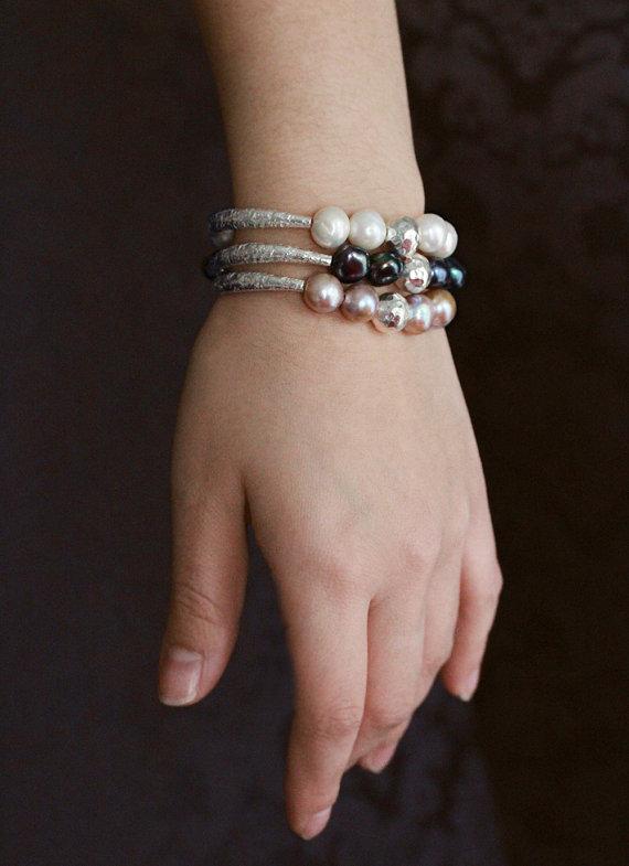 White Pearl Karen Hill Tribe Silver Hammered Bangle Bracelet
