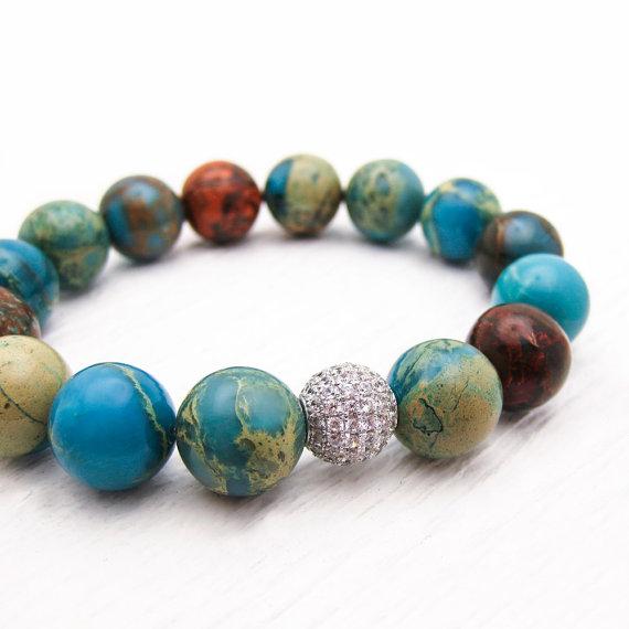 Blue Jasper Sterling Pave Bead Bracelet