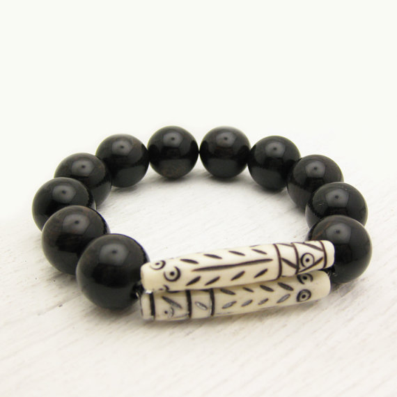 Tribal Bone Black Obsidian Statement Bracelet