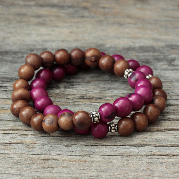 Plum and Brown Acai Boho Stacking Bracelet