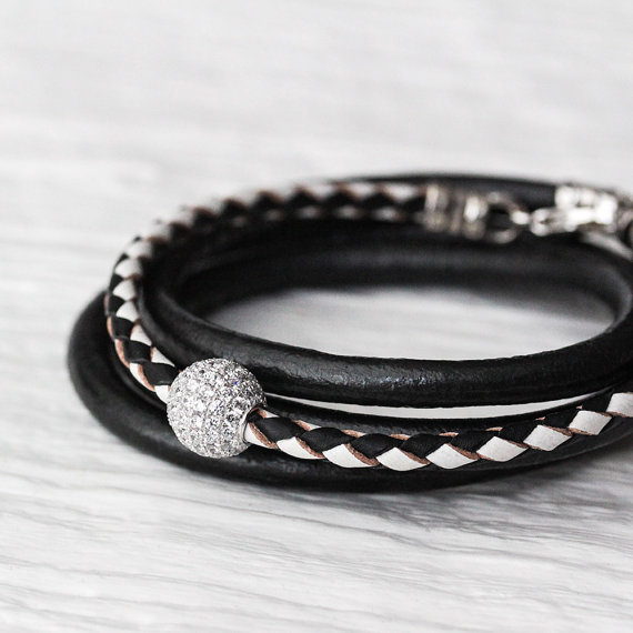 Black and White Leather Bangle Bracelet with Sterling Pave