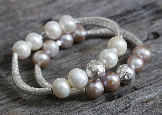 Pink Pearl Hammered Karen Hill Tribe Silver Bangle Bracelet