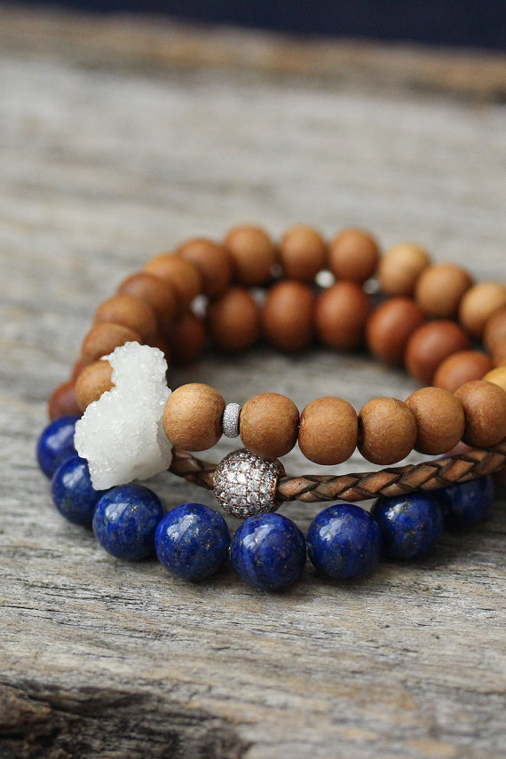 Lapis Lazuli and Sandalwood Beaded Unisex Bracelet