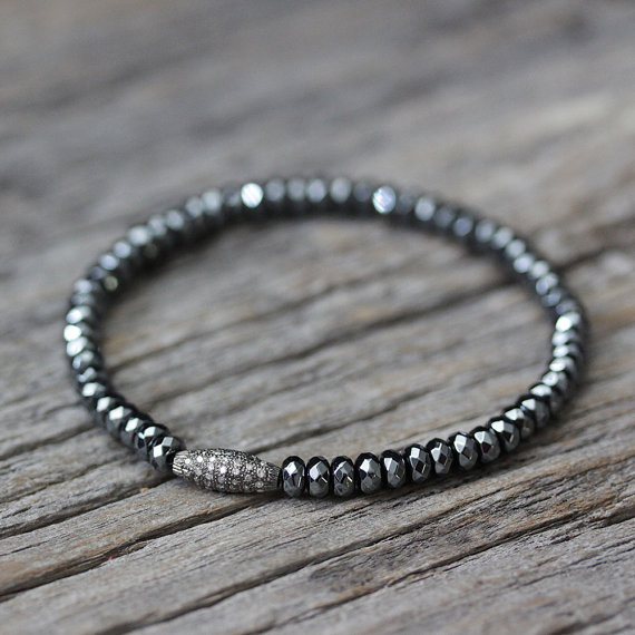 Diamond Hematite Bracelet in Oxidized Sterling Silver Beadwork