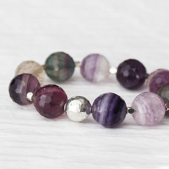 Fluorite and Sterling Statement Bracelet