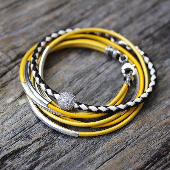 Yellow Leather Wrap Bracelet