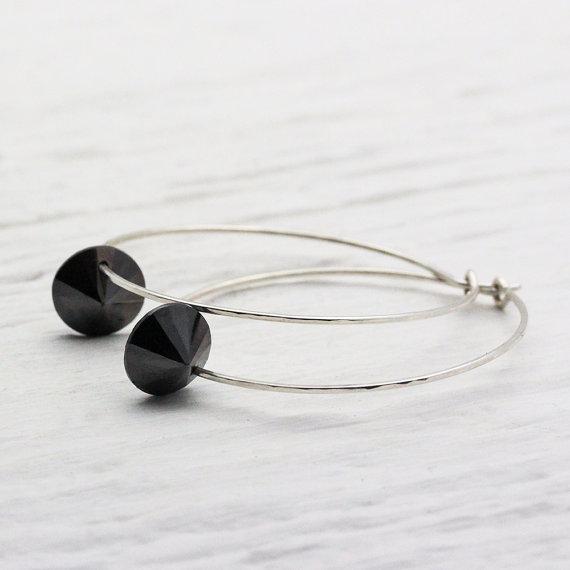 Black Diamond CZ Hoop Earrings