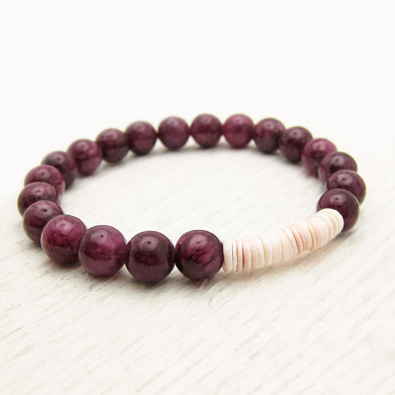 Plum Jade Heishi Shell Stacking Bracelet