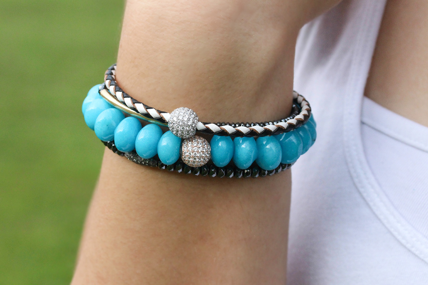 Blue Jade Pave Statement Bracelet
