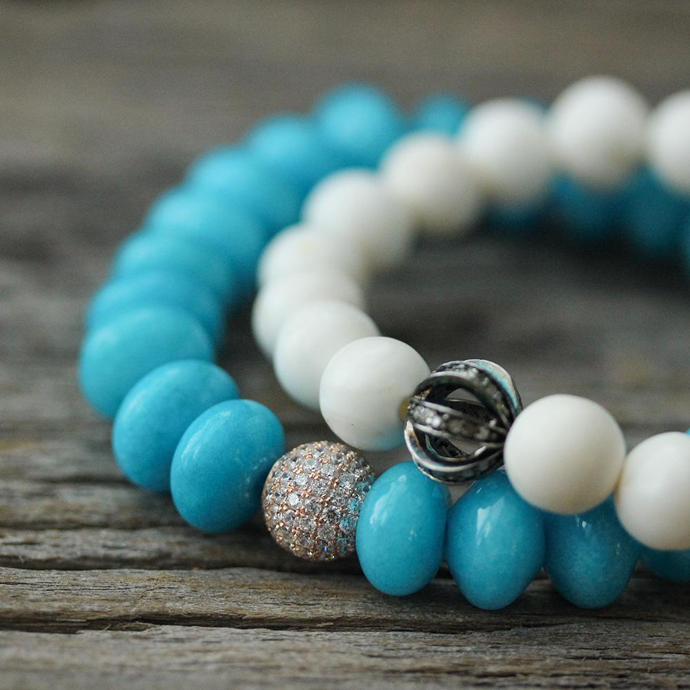 Blue Jade Pave Statement Bracelet