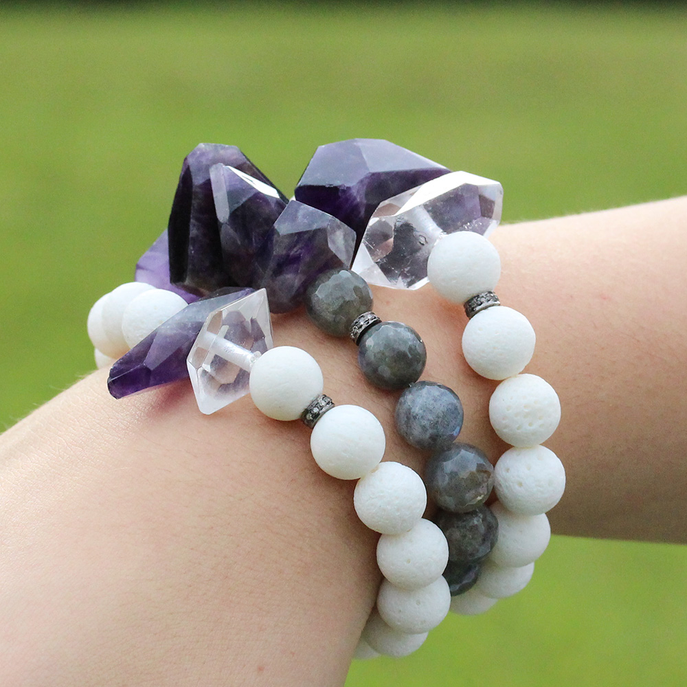 Amethyst, Quartz Coral & Diamond Statement Bracelet