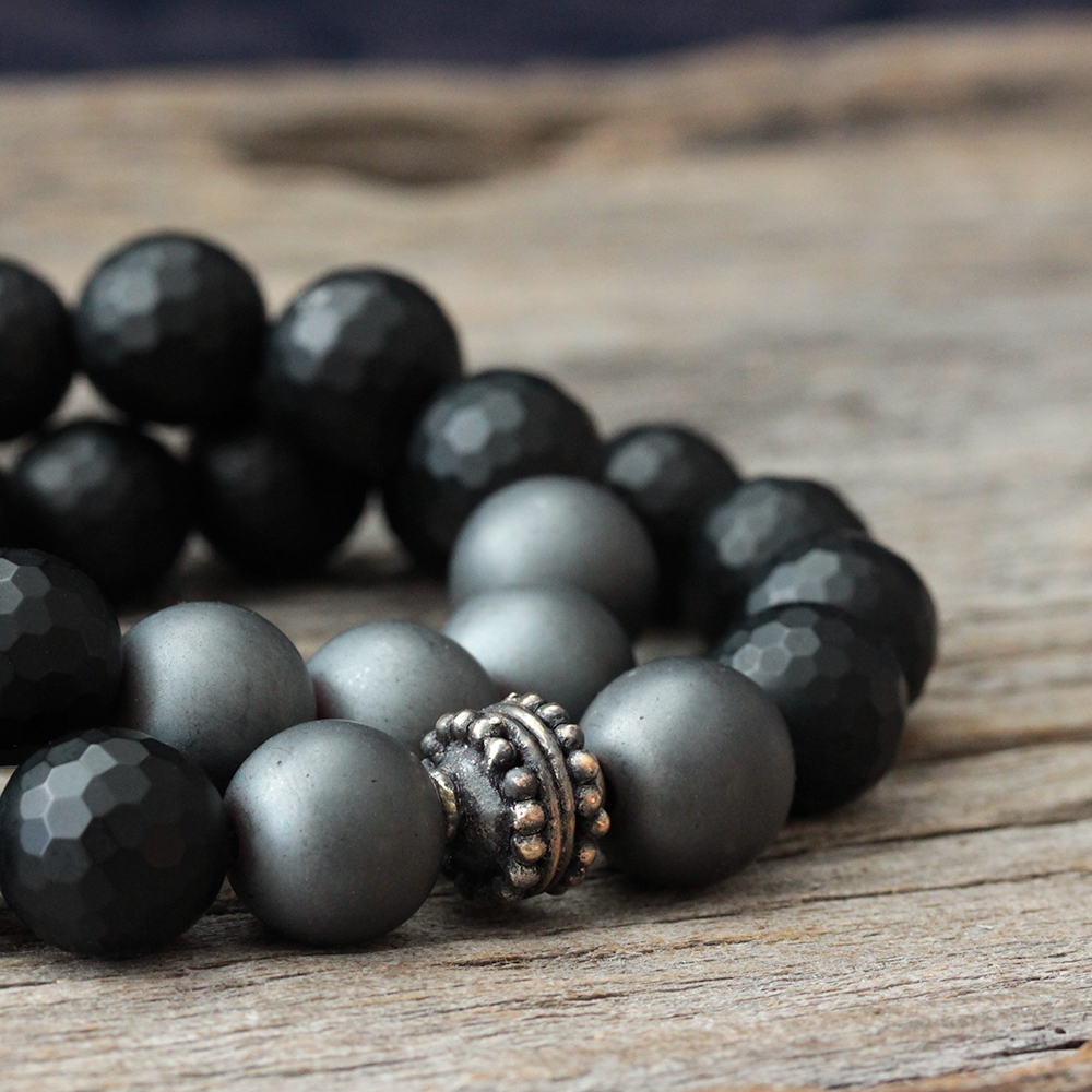 Onyx Hematite Unisex Bracelet