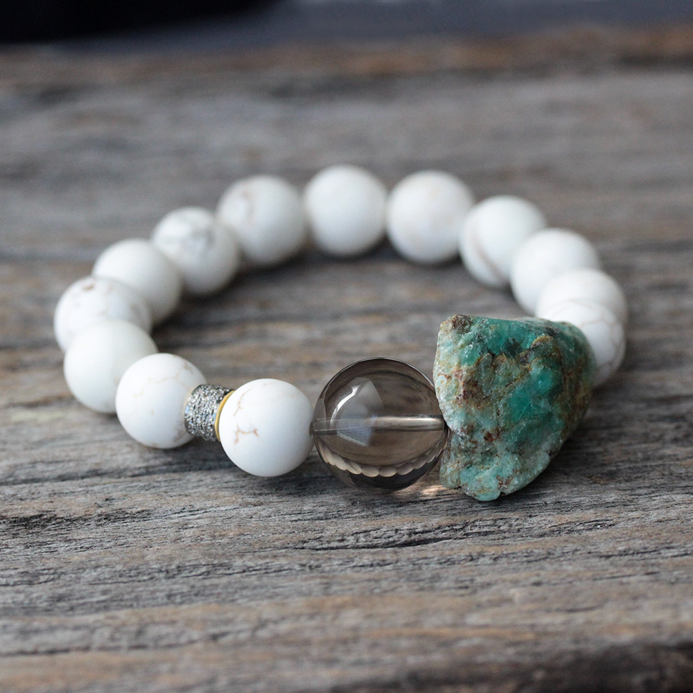 Diamond Smoky Quartz Kyanite Statement Bracelet