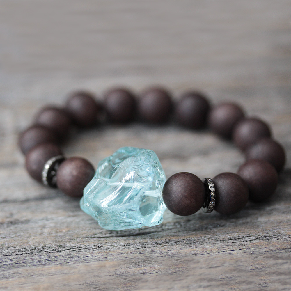 Diamond Blue Quartz Jade Statement Bracelet