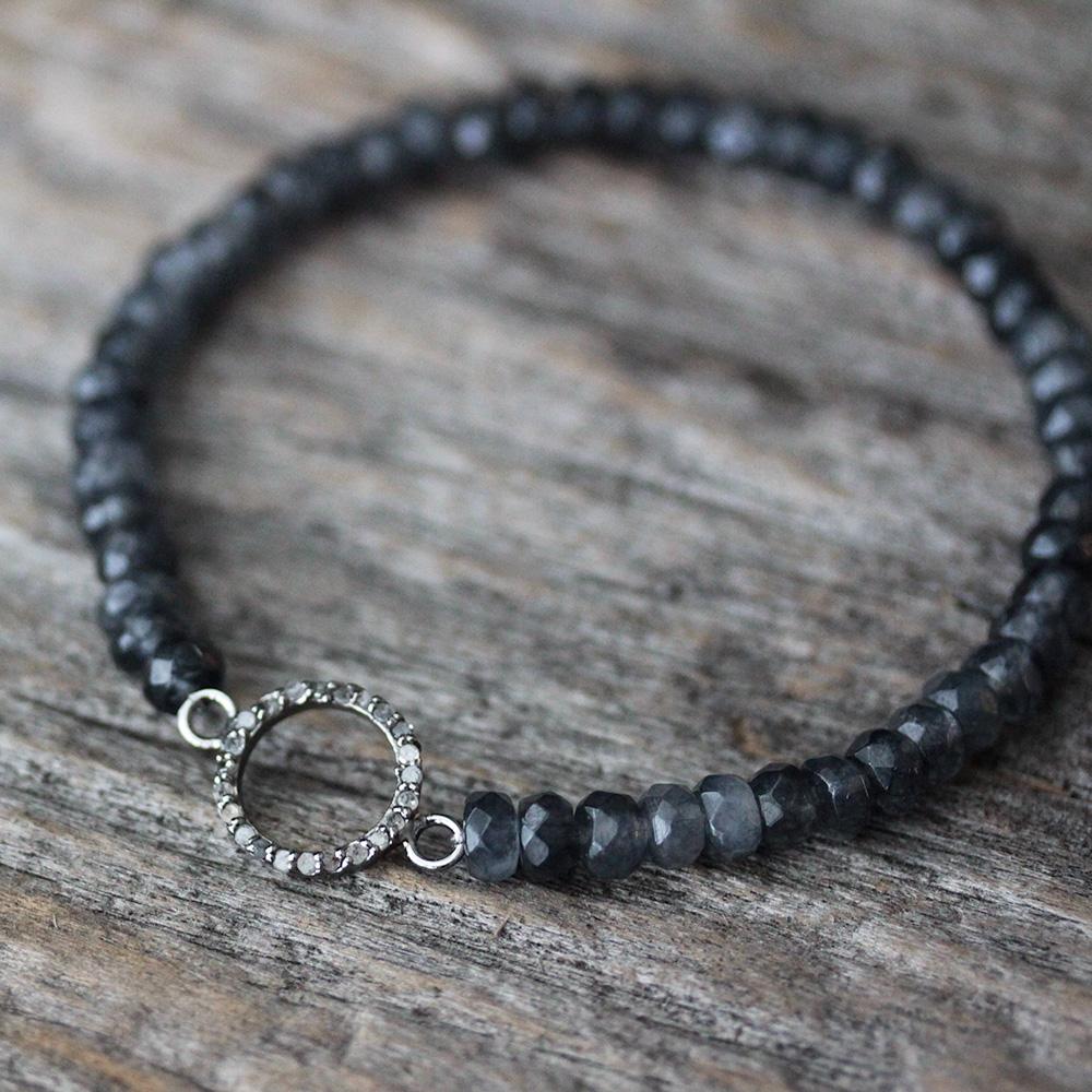 Diamond Circle Jade Stacking Bracelet in Sterling Silver