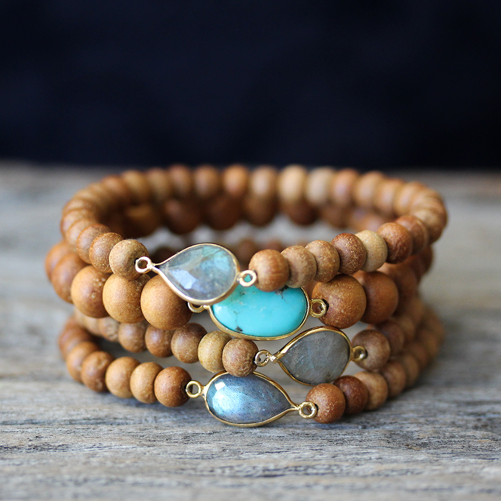 Sandalwood Boho Bracelets with Labradorite or Turquoise