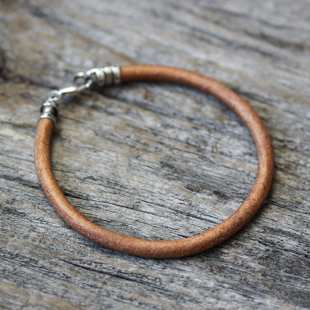 Blonde Leather Unisex Bangle Bracelet