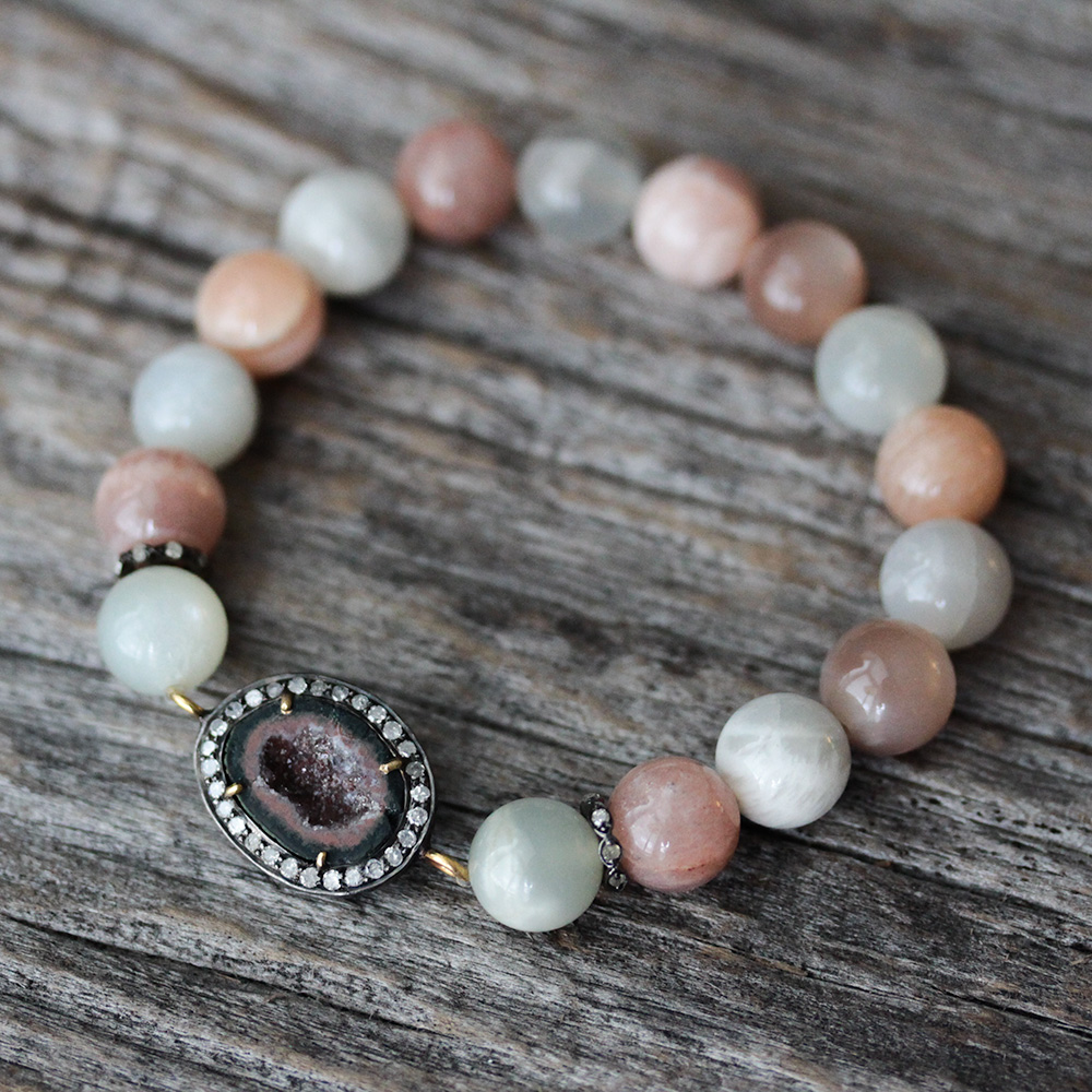 Peach Moonstone Diamond Druzy Statement Bracelet