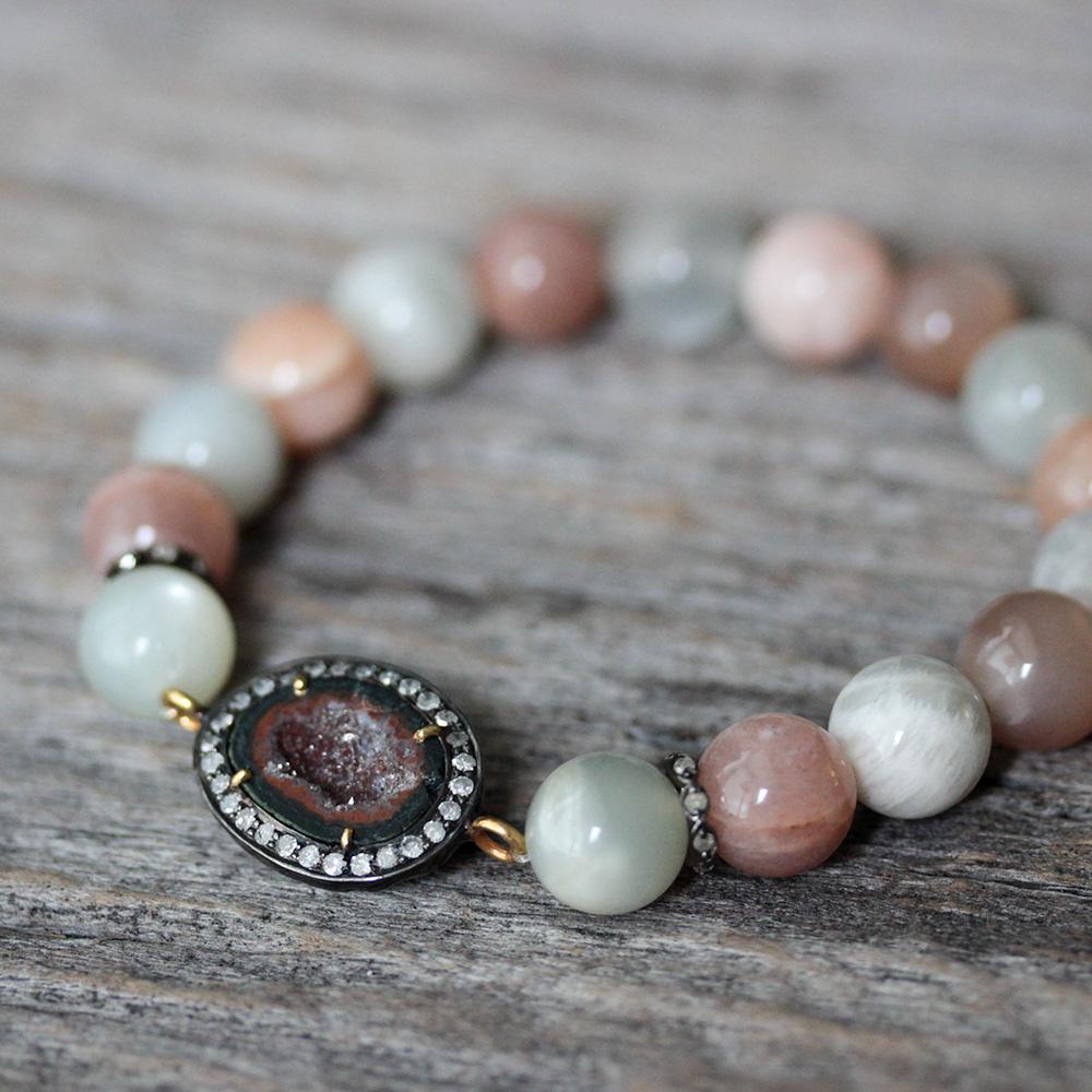 Peach Moonstone Diamond Druzy Statement Bracelet