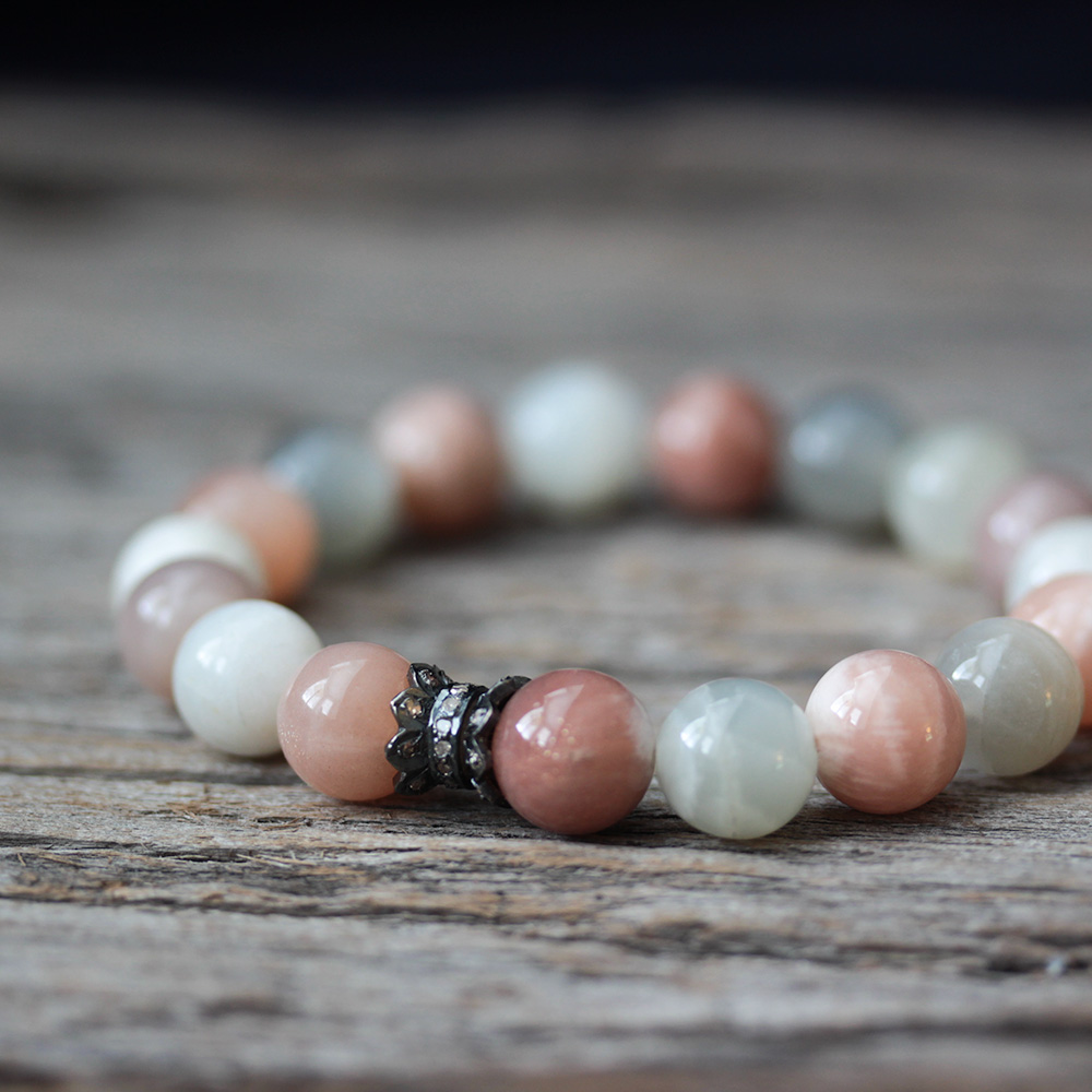 Moonstone Pave Boho Stacking Bracelet