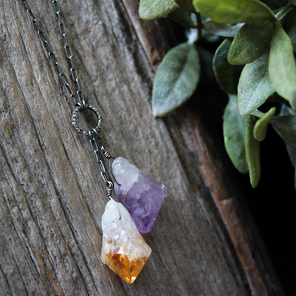Amethyst Citrine & Diamond Long Pendant Necklace