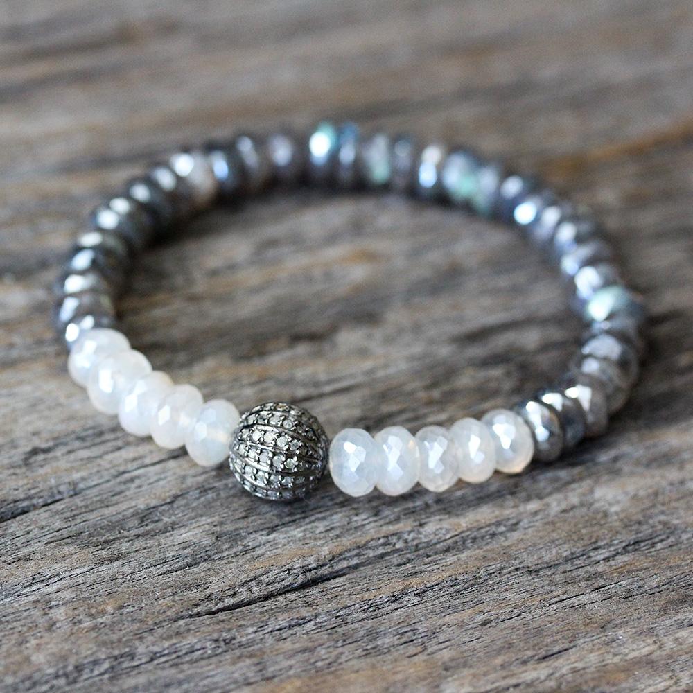 Diamond Labradorite Moonstone Bracelet