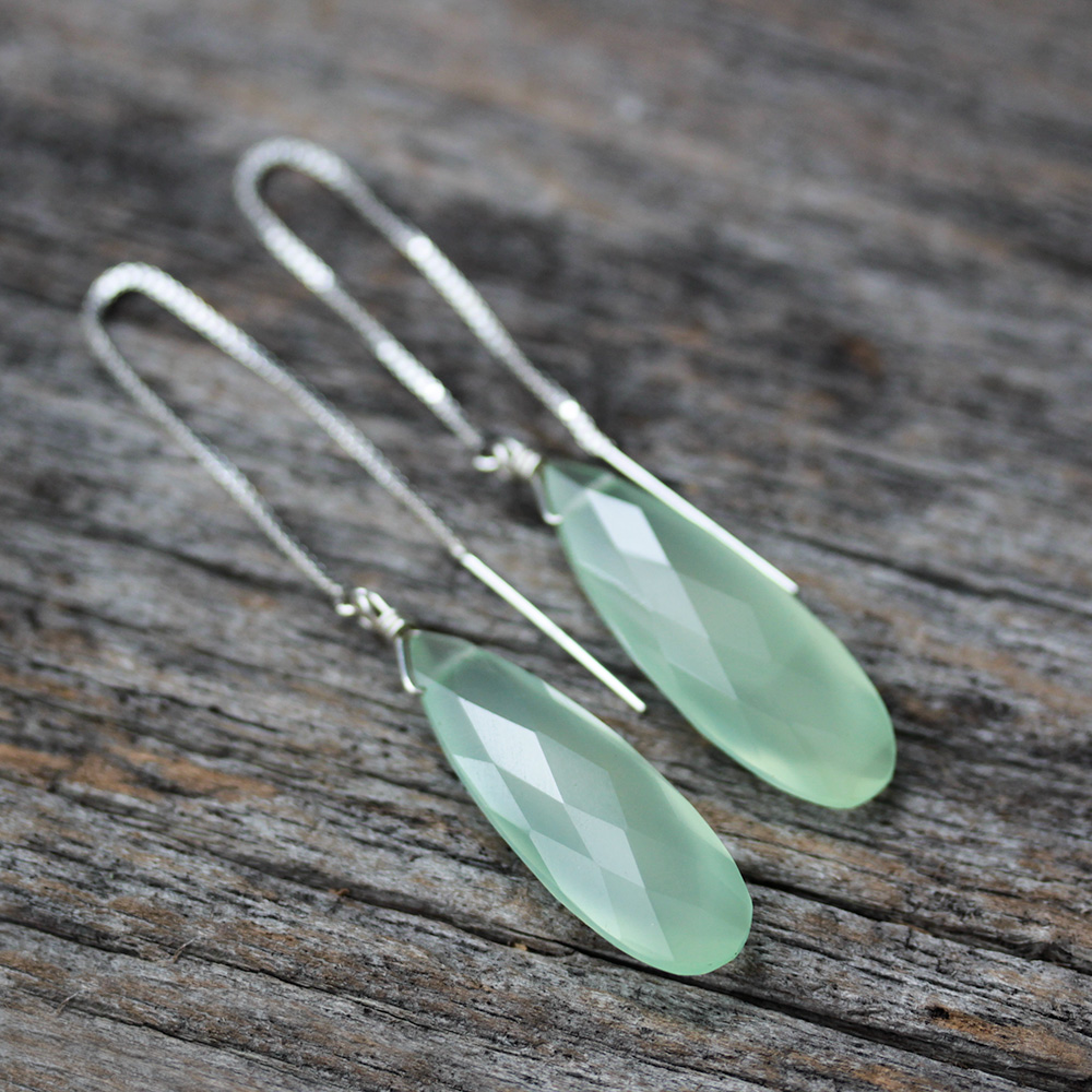 Green Chalcedony Dangle Earrings