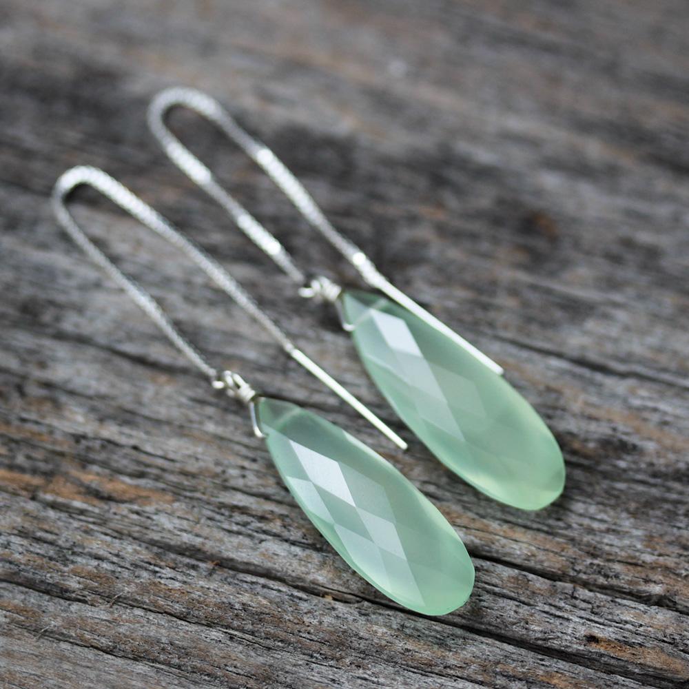 Green Chalcedony Dangle Earrings