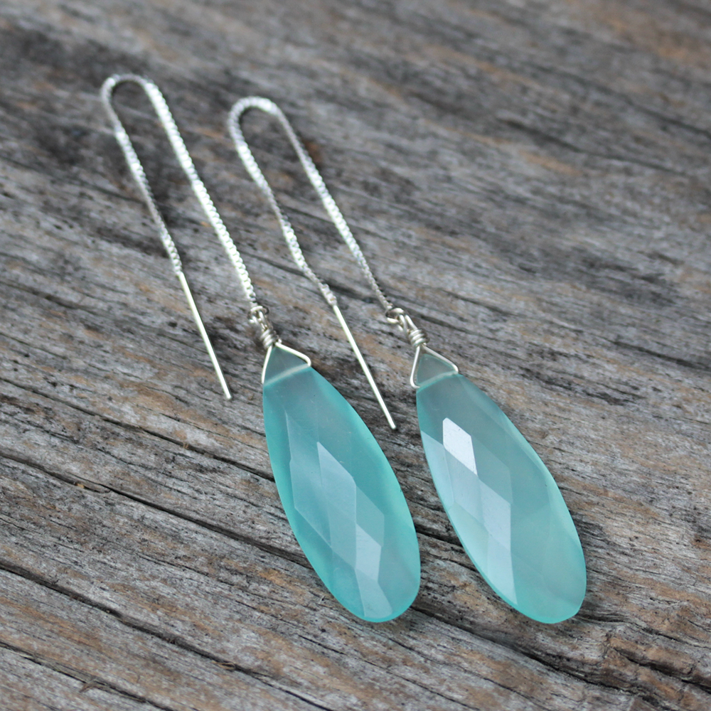 Blue Chalcedony Dangle Earrings