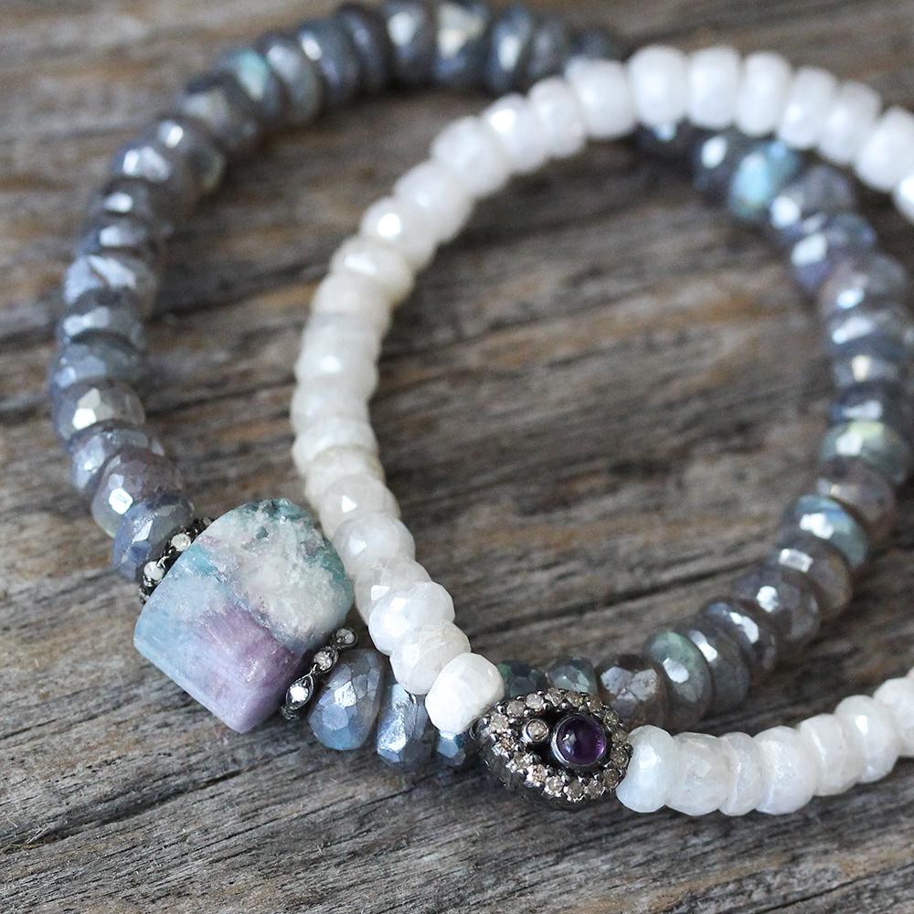 Raw Tourmaline Labradorite & Diamond Bracelet